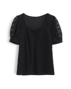 Ruched Front Sweetheart Neck Lace Top in Black