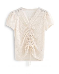 Drawstring Wavy V-Neck Lace Top in Cream