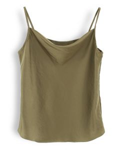 Cowl Neck Satin Cami Top in Army Green