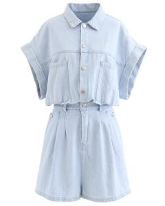 Pockets Button Down Light-Wash Denim Playsuit