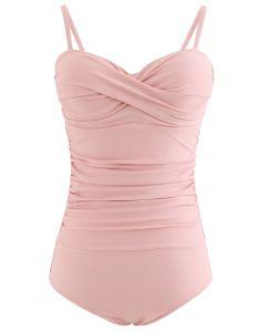 褶飾連體泳衣--粉色