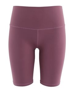 Crisscross Lines Trim Legging Shorts in Burgundy