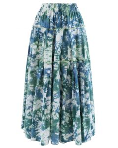 Tie-Dye Pleated Frill Midi Skirt in Teal