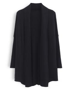 Basic Rib Knit Drape Neck Cardigan in Black