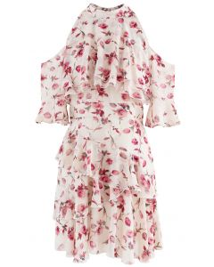 Cold-Shoulder Rose Print Jacquard Halter Dress