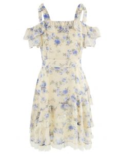 Cold-Shoulder Floral Ruffle Chiffon Midi Dress