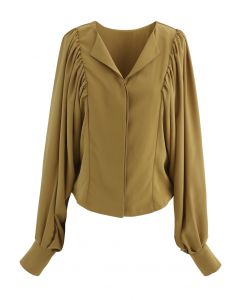 Batwing Puff Sleeves Crop Shirt in Mustard