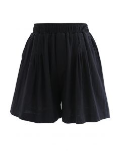 Pintuck Front Pockets Cotton Shorts in Black