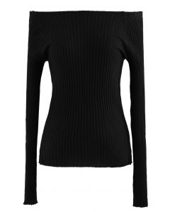 Fitted Off-Shoulder Ribbed Knit Top in Black