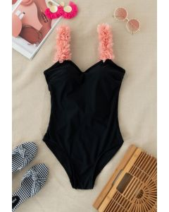 3D Floral Straps Scoop Back Swimsuit in Black