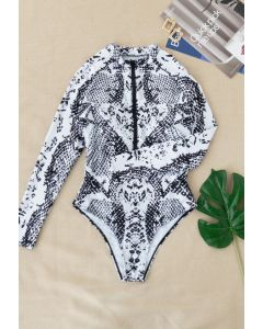 Snake Print Long Sleeves Zipper One-Piece Swimsuit