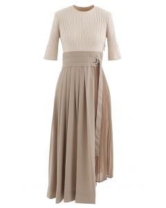Knit Chiffon Spliced Belted Pleated Dress in Tan
