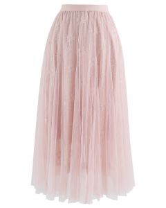 Sunflower Lace Mesh Tulle Midi Skirt in Pink