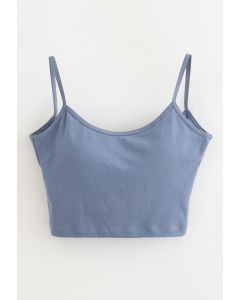 Twist Back Cami Bra Top in Dusty Blue