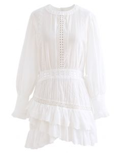 Buttoned Back Embroidered Eyelet Tiered Dress