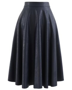 Faux Leather Crocodile Embossed A-Line Midi Skirt in Navy