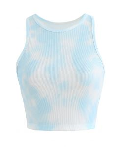 Pastel Tie-Dye Halter Tank Top in Sky Blue