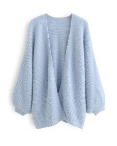華夫餅紋理絨毛針織外套--藍色