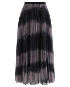 Color-Block Mesh Tulle Pleated Midi Skirt in Dusty Pink