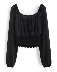 Crisscross Pearl Square Neck Crop Knit Top in Black