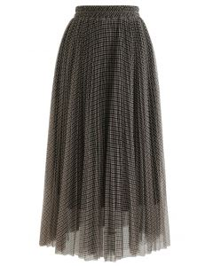 Gingham Double-Layered Pleated Mesh Midi Skirt in Khaki