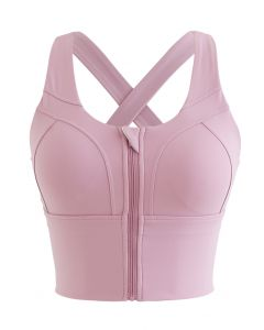 Cross Back Zipper Front Panelled Sports Bra in Pink