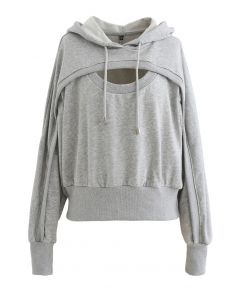 Spliced Cutout Hooded Cropped Sweatshirt in Grey