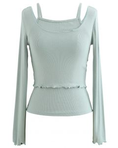 Two-Piece Lettuce-Hem Knit Top in Mint