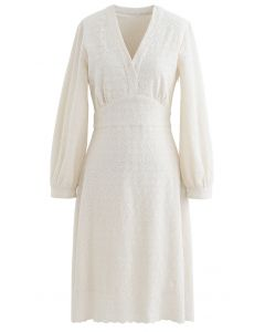 Full Floret Embroidered V-Neck Dress in Cream