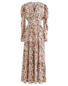 V-Neck Puff Shoulders Floral Maxi Dress in Sand