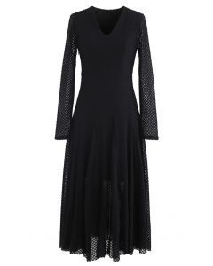 Textured Embroidery V-Neck Frilling Dress in Black