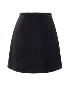Corduroy Mini Bud Skirt in Black