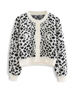 Animal Print Button Down Crop Cardigan in White