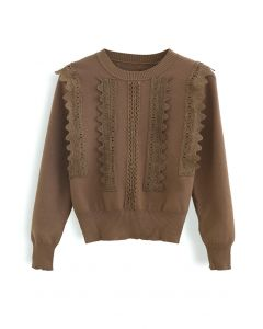 Crochet Front Ribbed Knit Sweater in Caramel