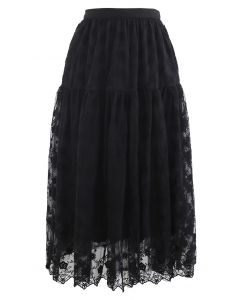 Floral Organza Overlay Mesh Midi Skirt in Black