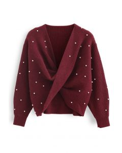 Twist Front Pearl Rib Knit Sweater in Wine