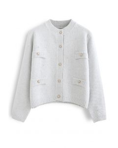 Sequins Thread Button Down Knit Cardigan in Silver