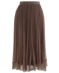 Hi-Lo Mesh Hem Pleated Skirt in Brown