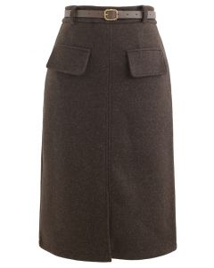Belted Wool-Blend Split Skirt in Brown