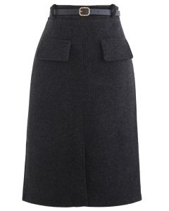Belted Wool-Blend Split Skirt in Smoke