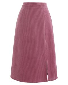 Front Split Corduroy Midi Skirt in Pink