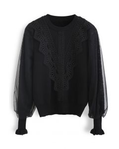 Lacy Front Mesh Sleeves Knit Top in Black