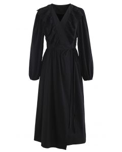 Eyelet Ruffle Front Wrap Long Sleeves Dress in Black