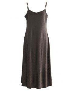 Wave Textured Velvet Cami Dress in Brown
