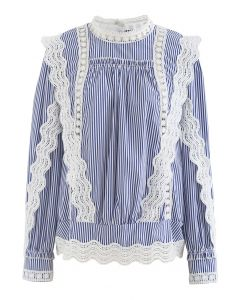 Buttoned Back Crochet Eyelet Top in Stripe