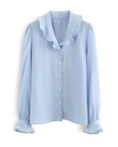 Semi-Sheer Ruffle Button Down Shirt in Blue