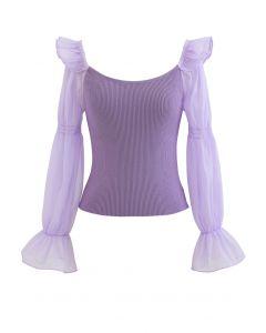 Organza Puff Sleeve Crop Knit Top in Lilac