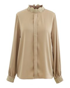 Satin Crochet Trimmed Mock Neck Top in Tan