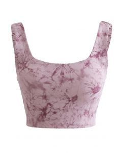 Tie-Dye Elasticated Cutout Back Sports Bra in Lilac
