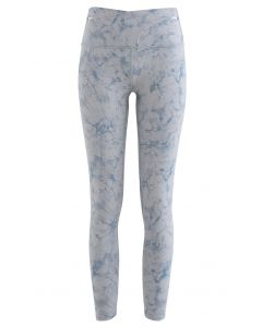 Tie-Dye Cross Waist Ankle Length Leggings in Blue